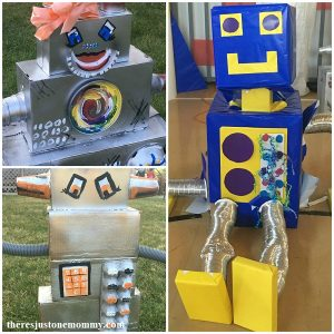 DIY robot party decorations with cardboard robots