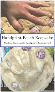 hand print stepping stone -- how to make a sandy handprint for a fun beach vacation keepsake you'll treasure forever