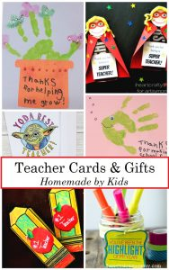 homemade teacher cards and homemade teacher gifts: perfect cards kids can make for Teacher Appreciation Week and end of school year teacher cards
