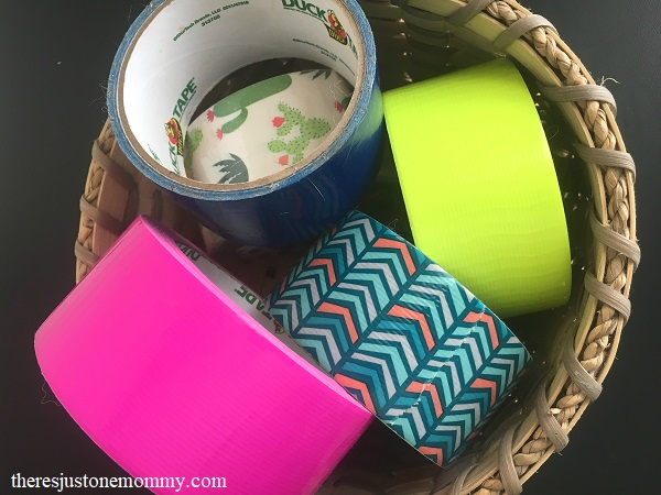 duct tape hack for organizing school supplies