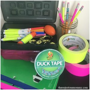 using duct tape for classroom organization; organizing homework station