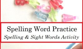 Practicing Spelling Words with Beads