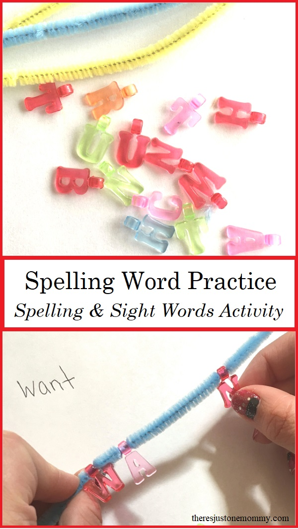 practicing spelling words with alphabet beads