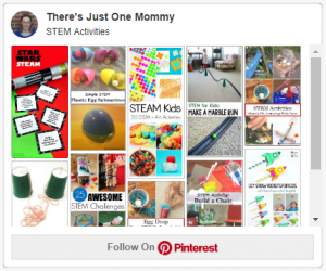 Pinterest board with STEM activities for kids