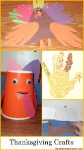 kids Thanksgiving crafts, including fun turkey crafts for kids