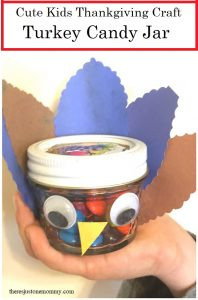 Thanksgiving craft for kids -- how to make a turkey candy jar