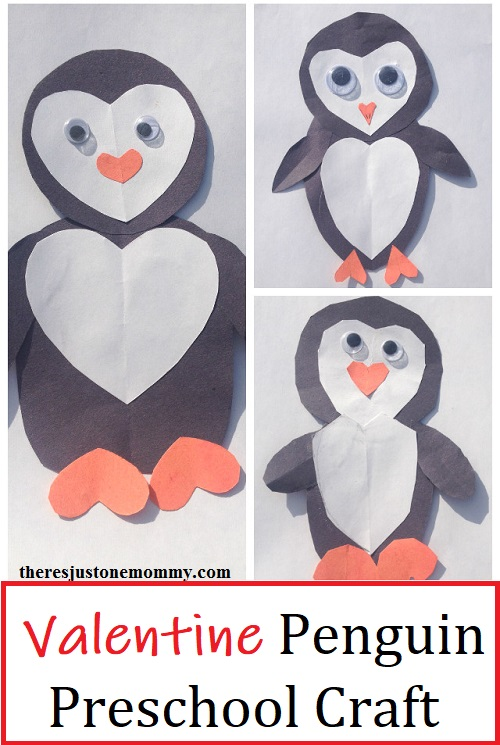 this paper heart penguin craft would be a fun Valentine's Day craft for preschoolers