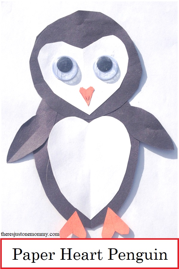kids paper heart penguin craft