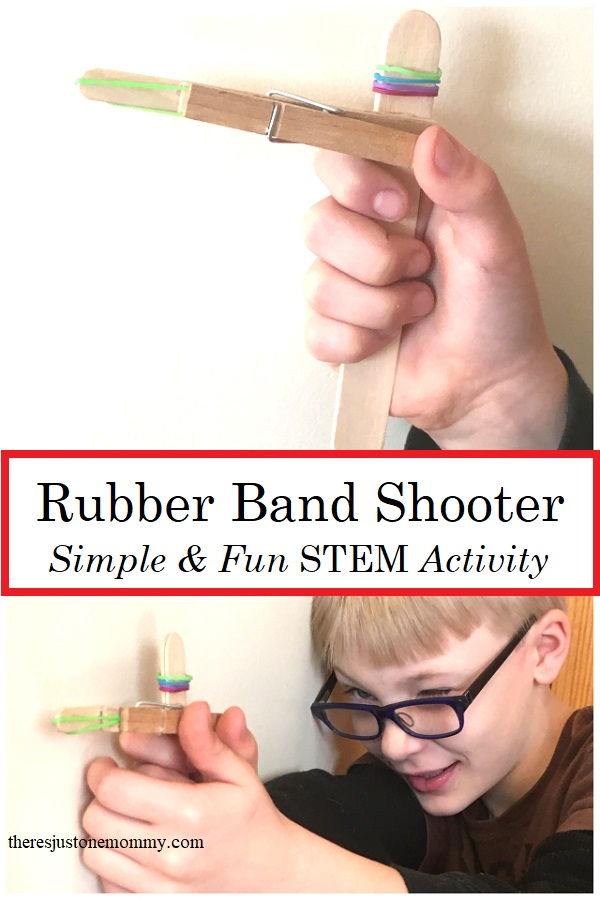 simple STEM for elementary kids: build a rubber band shooter