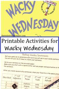 printable activities for Wacky Wednesday