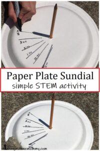 paper plate sundial -- simple STEM activity