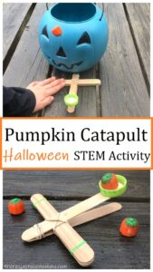 pumpkin craftstick catapult Halloween STEM activity