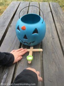craft stick catapult STEM activity for Halloween