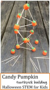 simple Halloween STEM: building a toothpick tower