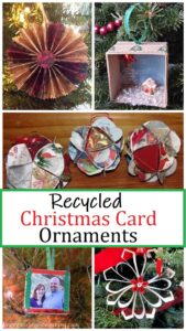 making recycled Christmas card ornaments