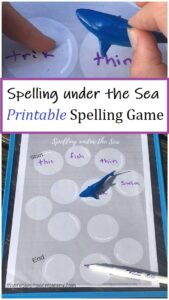 printable shark game to work on spelling practice