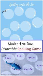 ocean themed spelling game for kids