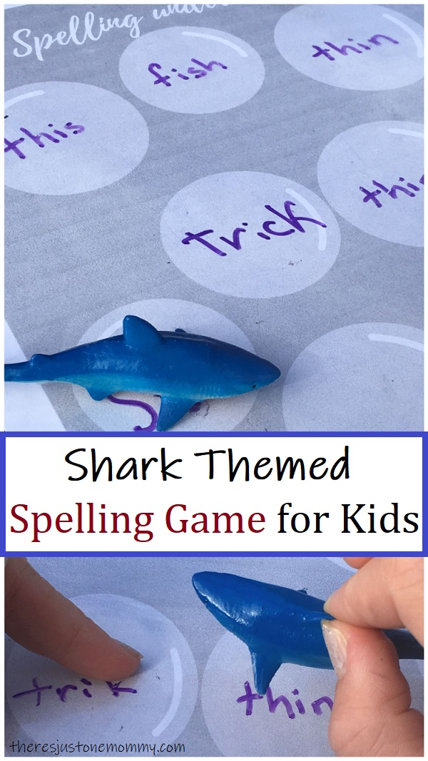 fun shark themed printable spelling game