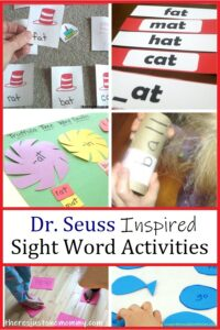 Dr. Seuss book sight word activities for early readers