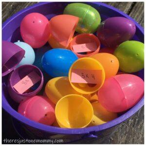math facts Easter egg hunt idea