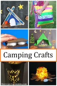 camping crafts, including tents, campfires, lanterns, & more
