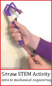 mechanical hand straw STEM project