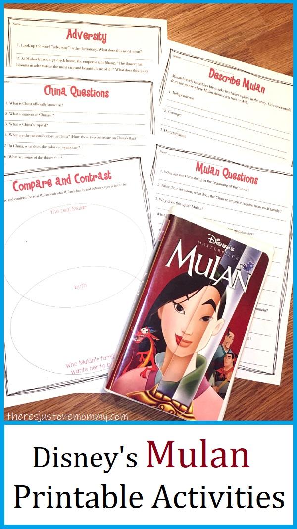 activity for Disney Mulan movie