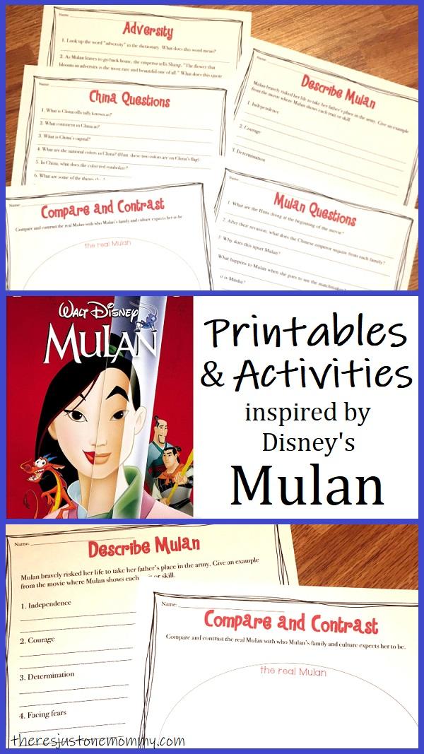 Disney Mulan movie worksheets & activities